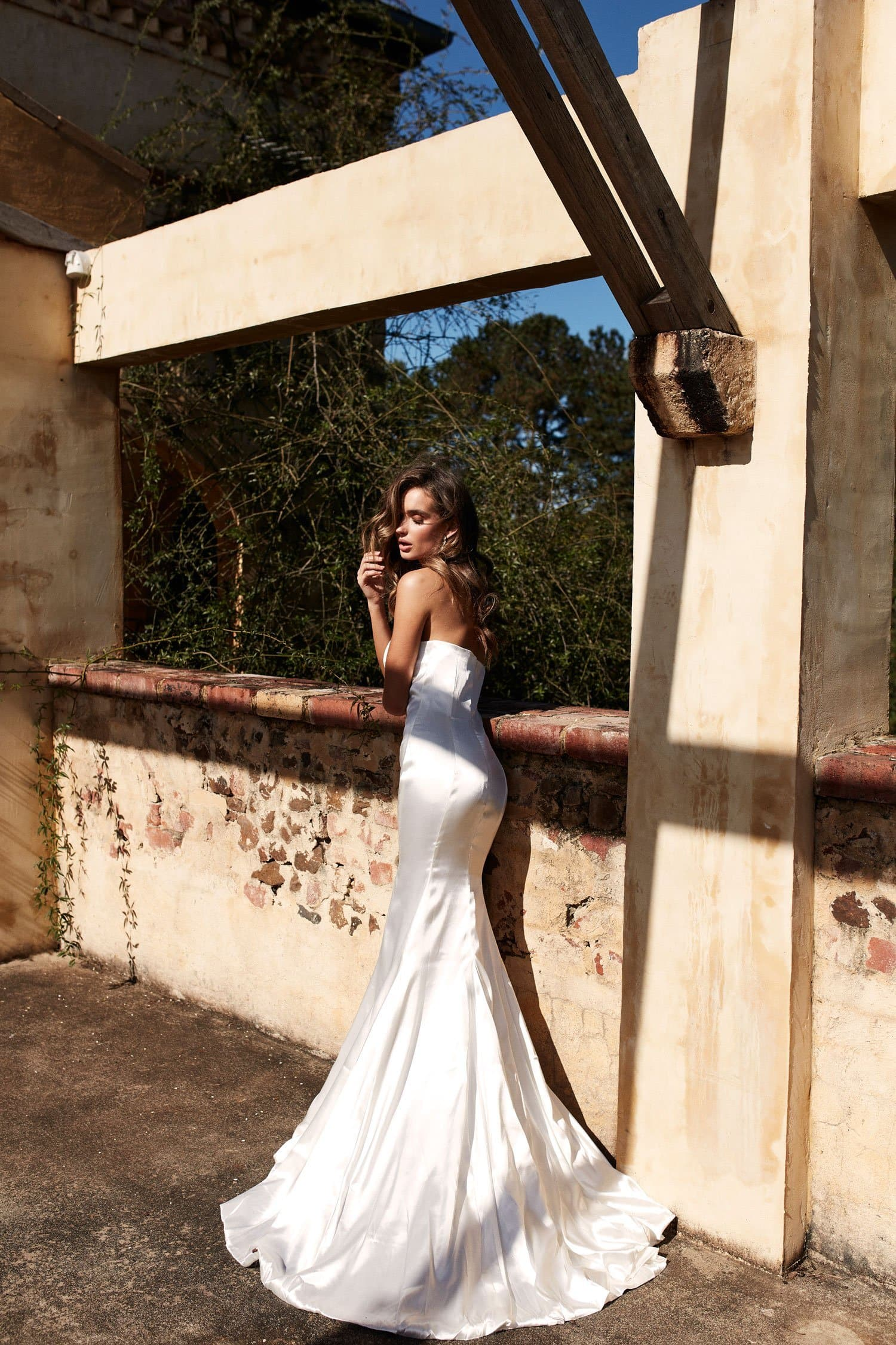 Aino Formal Dress - White Satin Strapless Full Length Gown