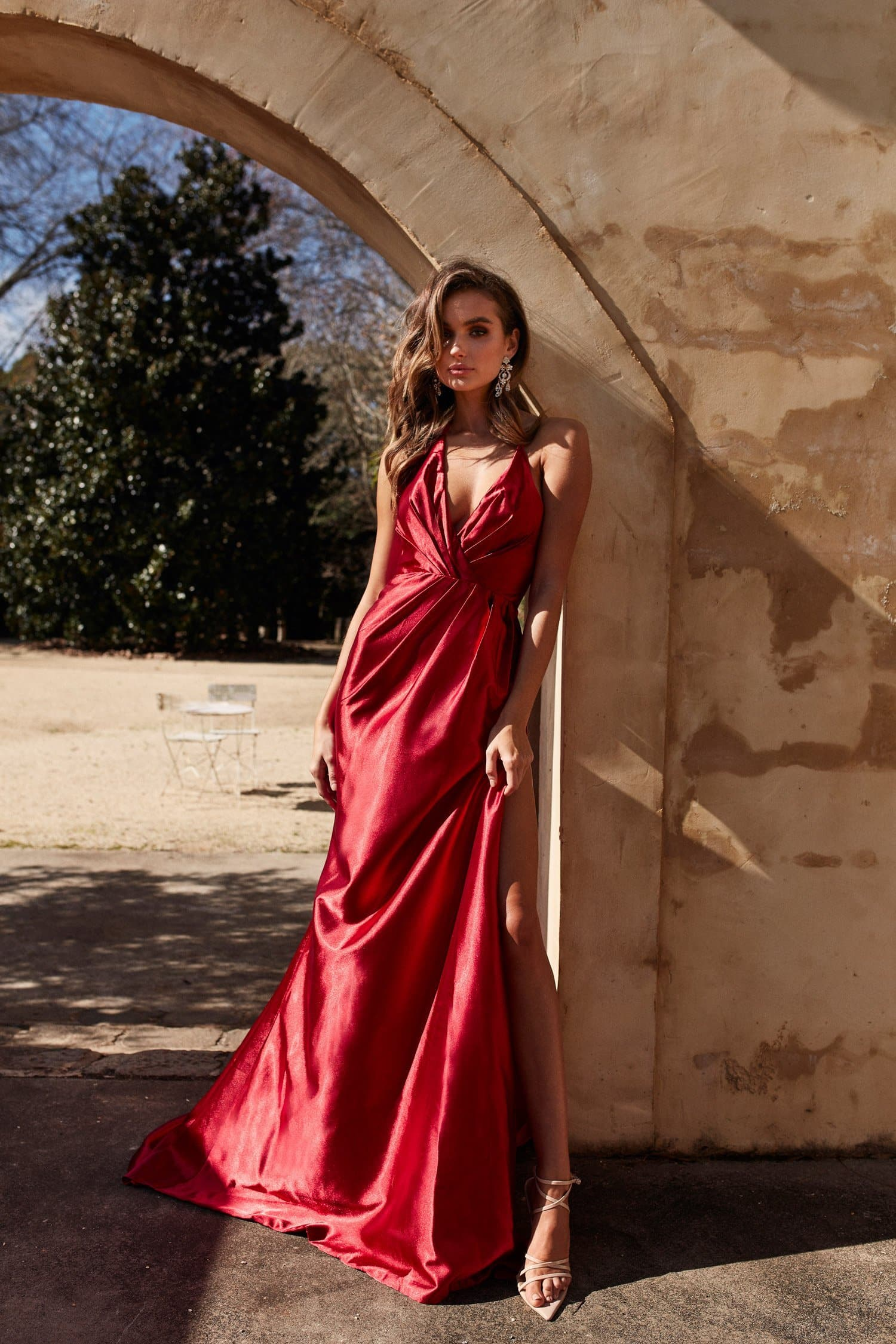 Leonie Gown - Deep Red Satin Halter V Neck Ruched Split Mermaid Dress