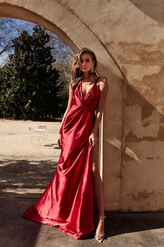 391c65d1de ... V Neck and Side Slit · A N Luxe Leonie Satin Gown - Deep Red