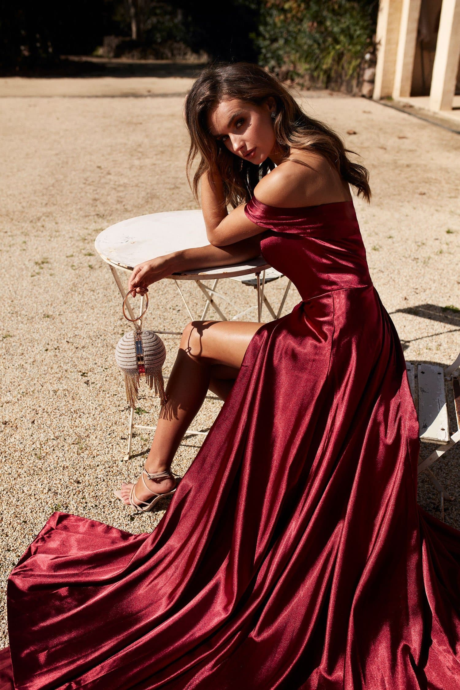 A&N Luxe Luciana Satin Gown - Burgundy