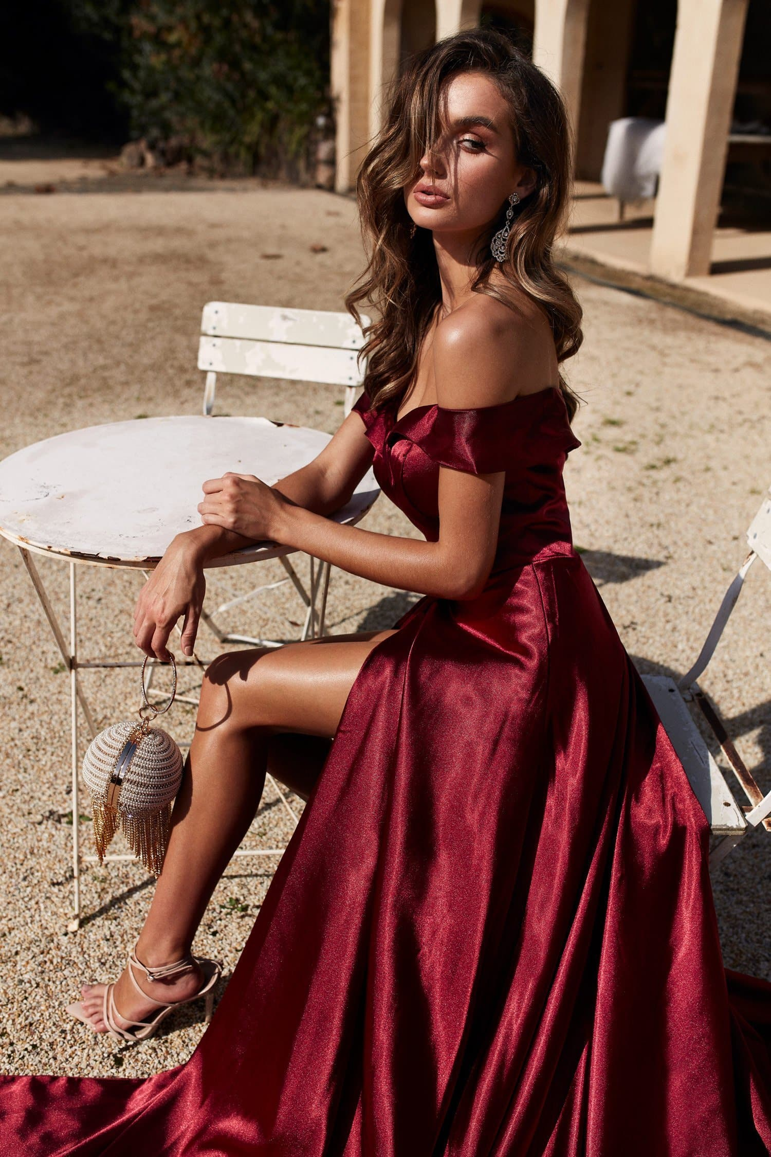 A&N Luciana - Burgundy Satin Gown with Off-Shoulder Straps and Slit