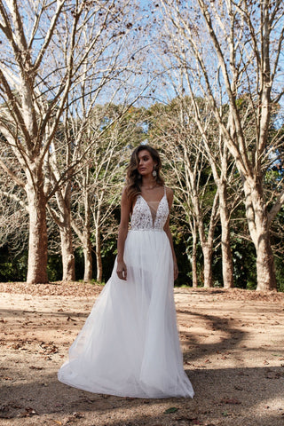A&N Indira - White Tulle Backless Bridal Gown with Lace Detail