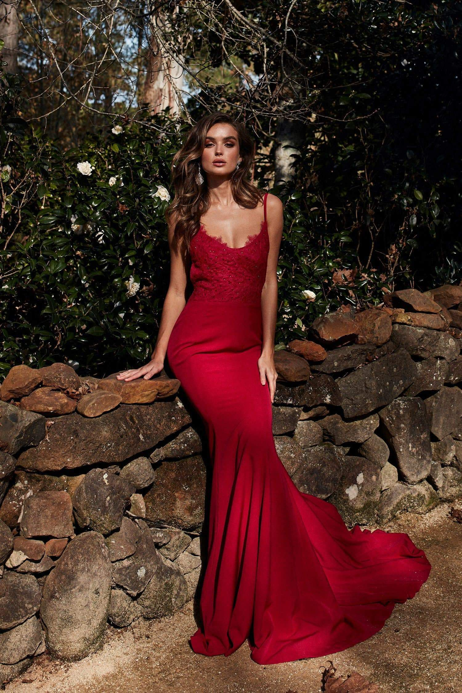 A&N Anika - Deep Red Ponti Lace Gown with Lace up Back