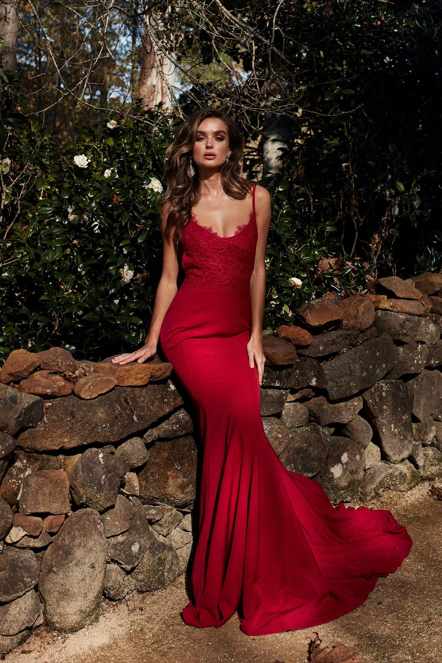 Anika Formal Gown - Deep Red Ponti Lace Crystal Adorned Lace Up Dress
