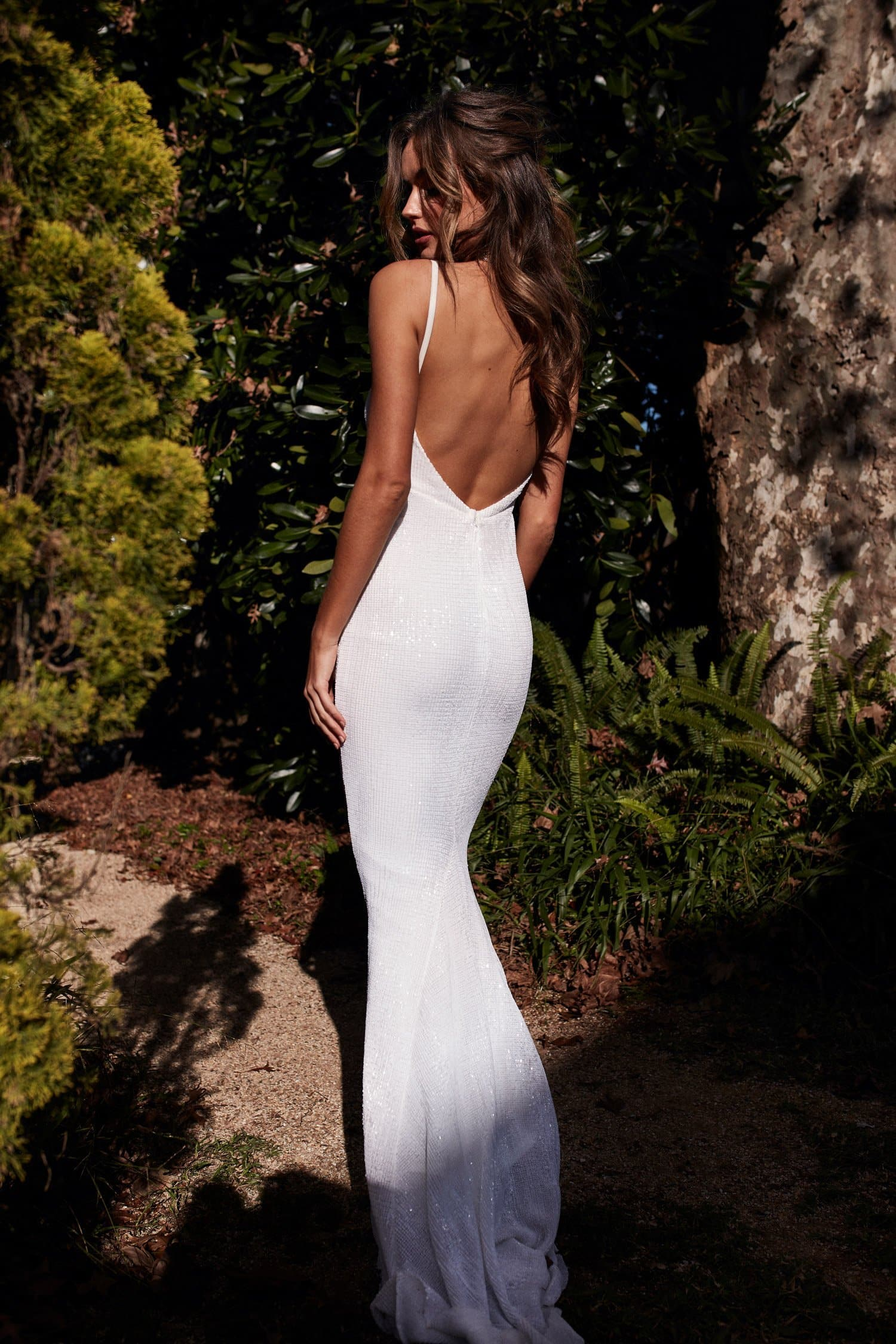 A&N Cynthia Sparkling Mermaid Gown - White