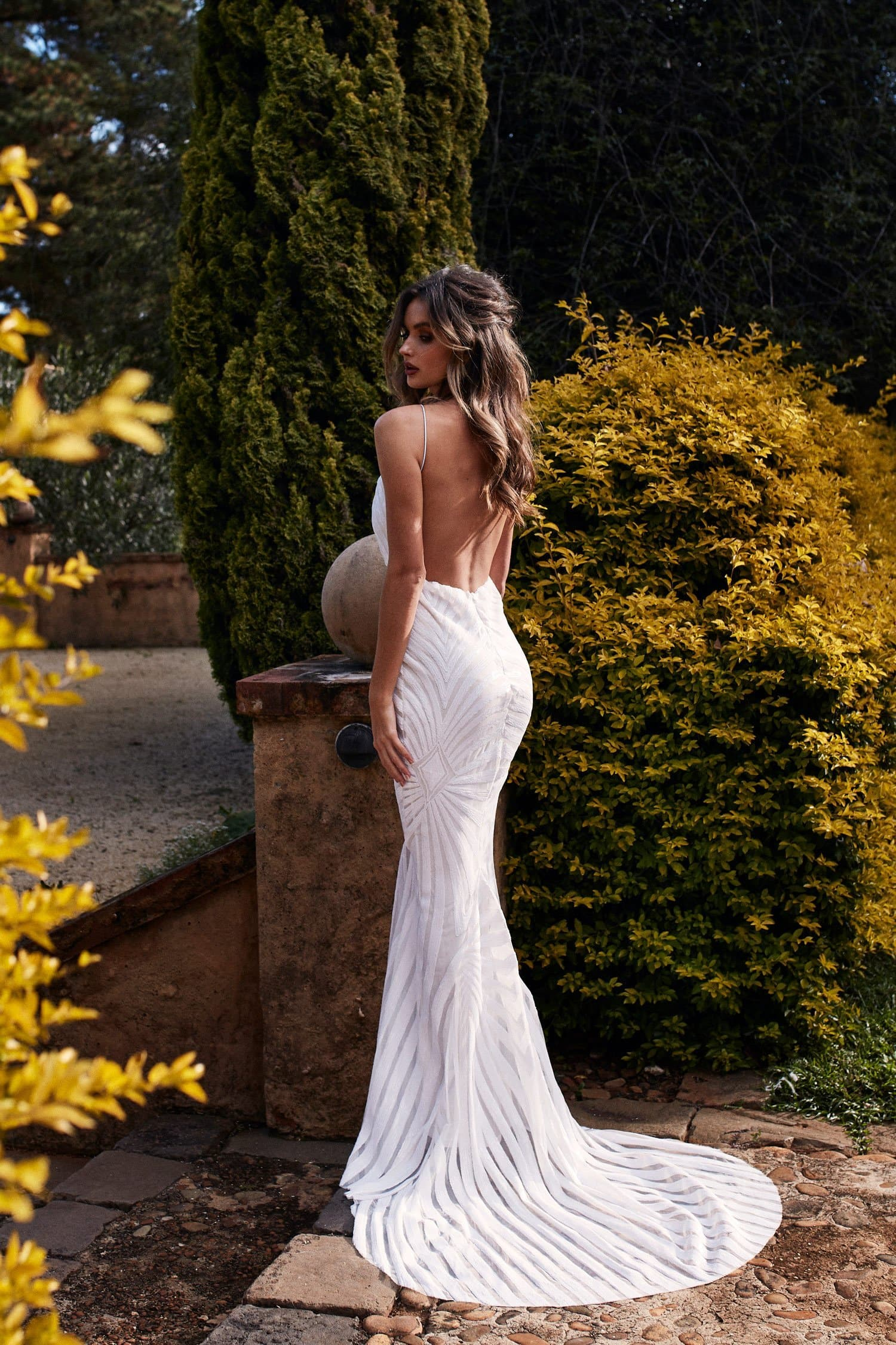 A&N Luxe Justina Sequinned Backless V Neckline Mermaid Gown - White