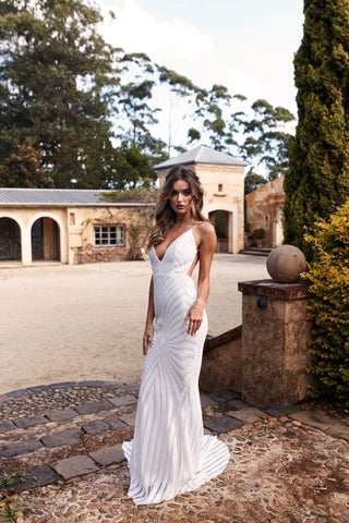 A&N Justina - White Sequin Gown with V Neckline and Low Back