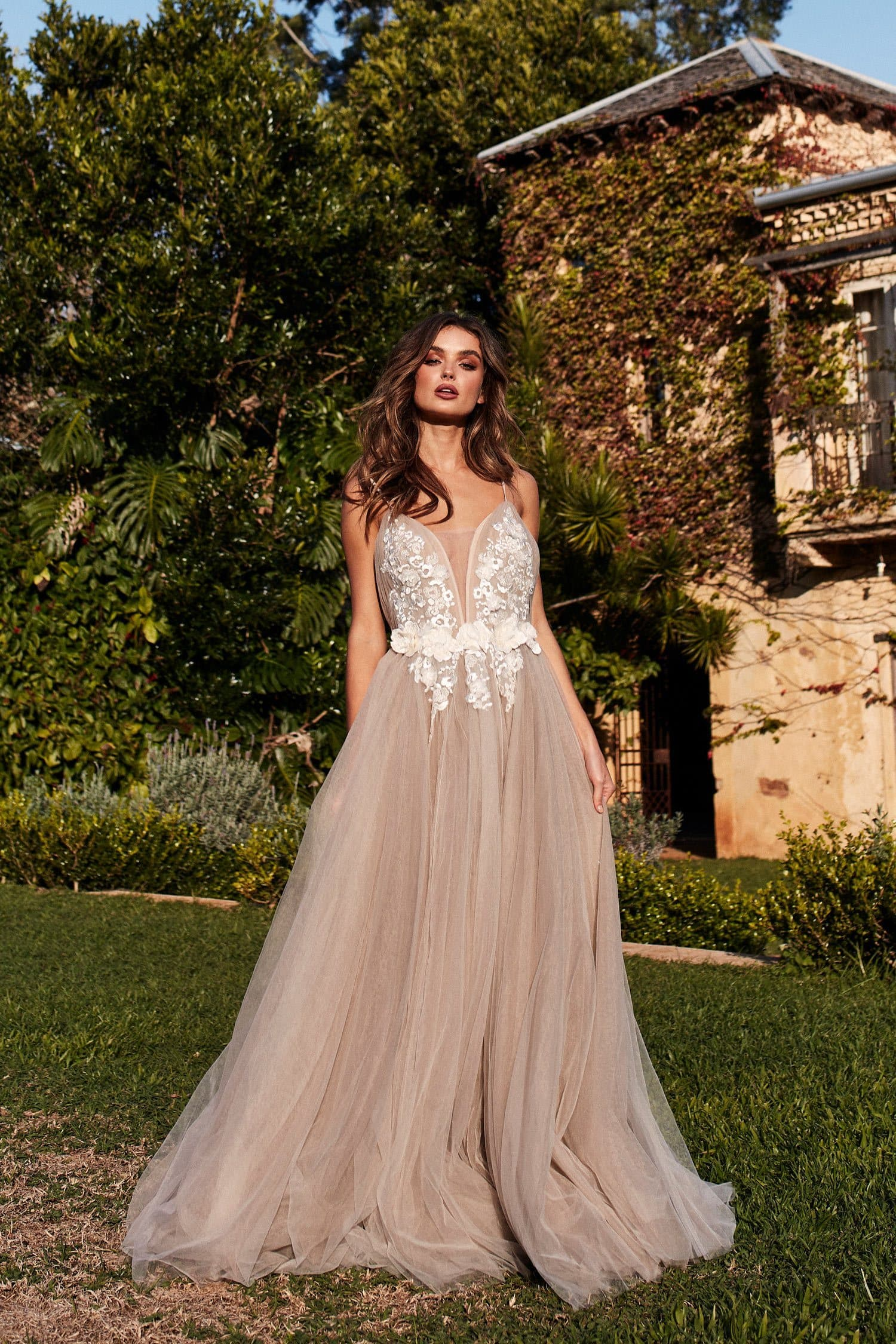 A&N Zendaya - Nude Backless Tulle Bridal Gown with Open Back Gown