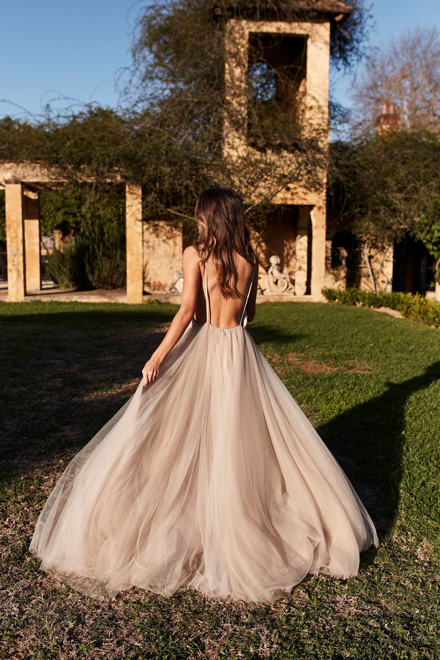 A&N Luxe Zendaya Backless Tulle Embellished Bridal Gown  - Nude