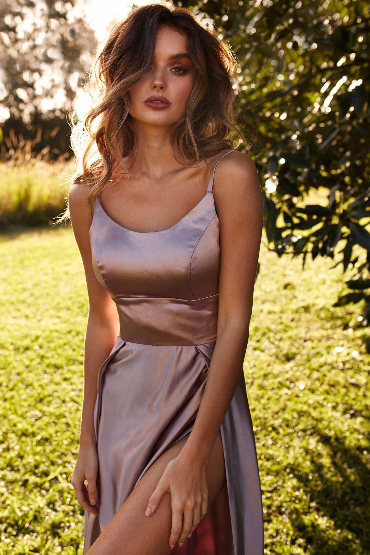 Vanessa Satin Gown - Mauve Satin Gown With Mermaid Train and Slit