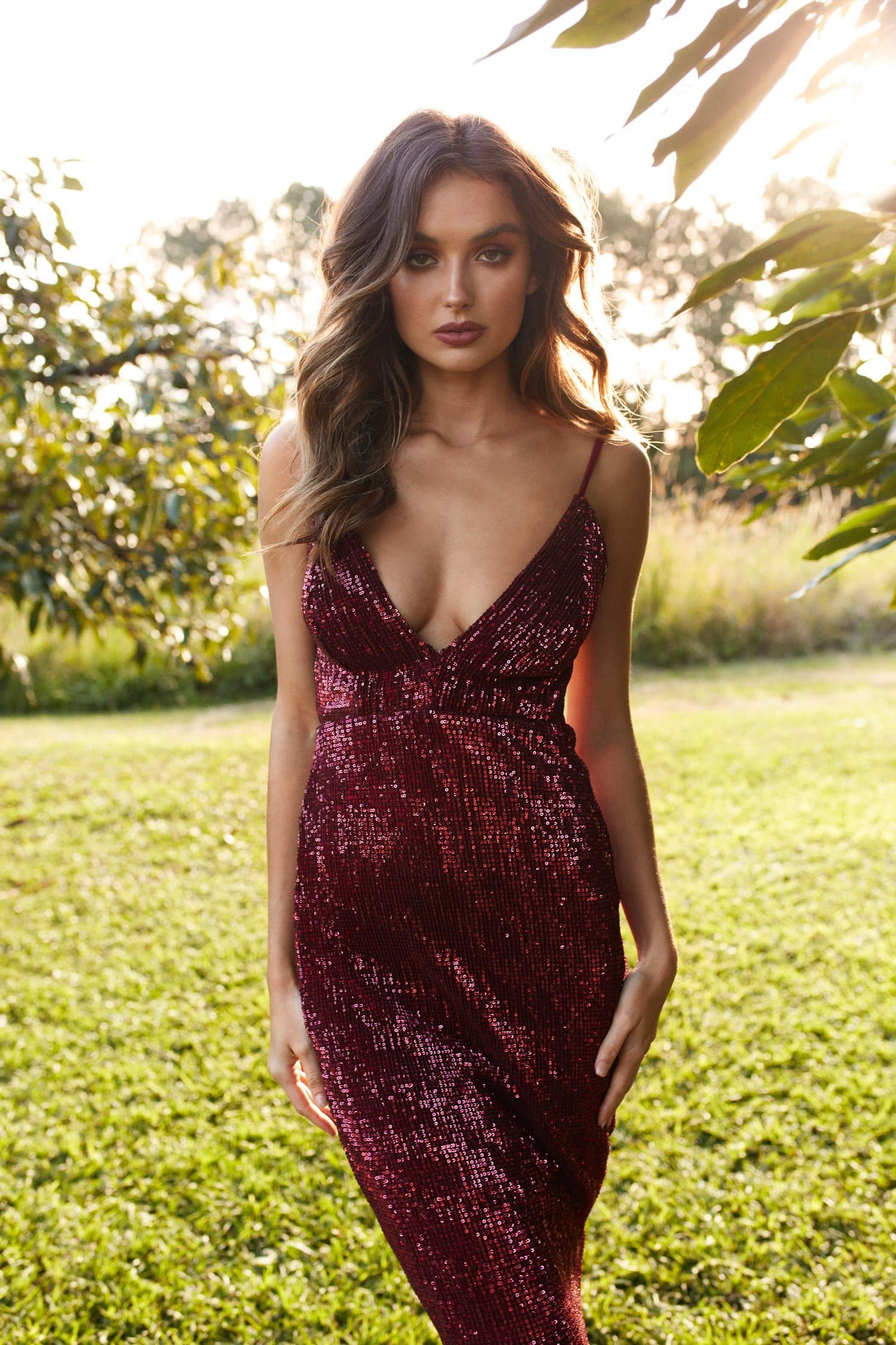 Cynthia Sparkling Mermaid Gown - Burgundy Sequins