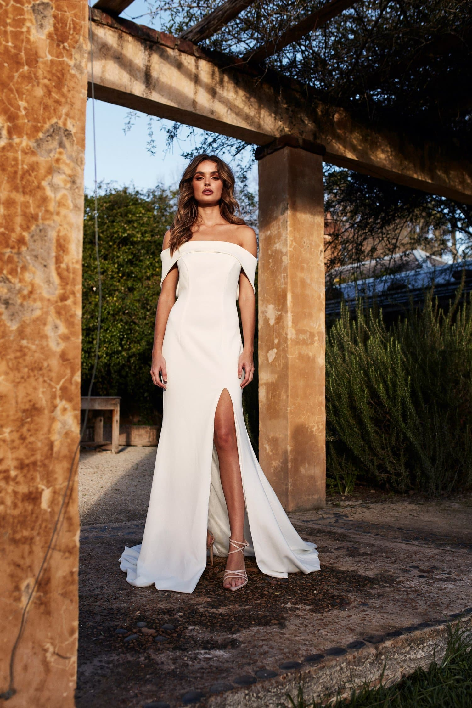 A&N Cleo - White Off Shoulder Ponti Gown With Slit