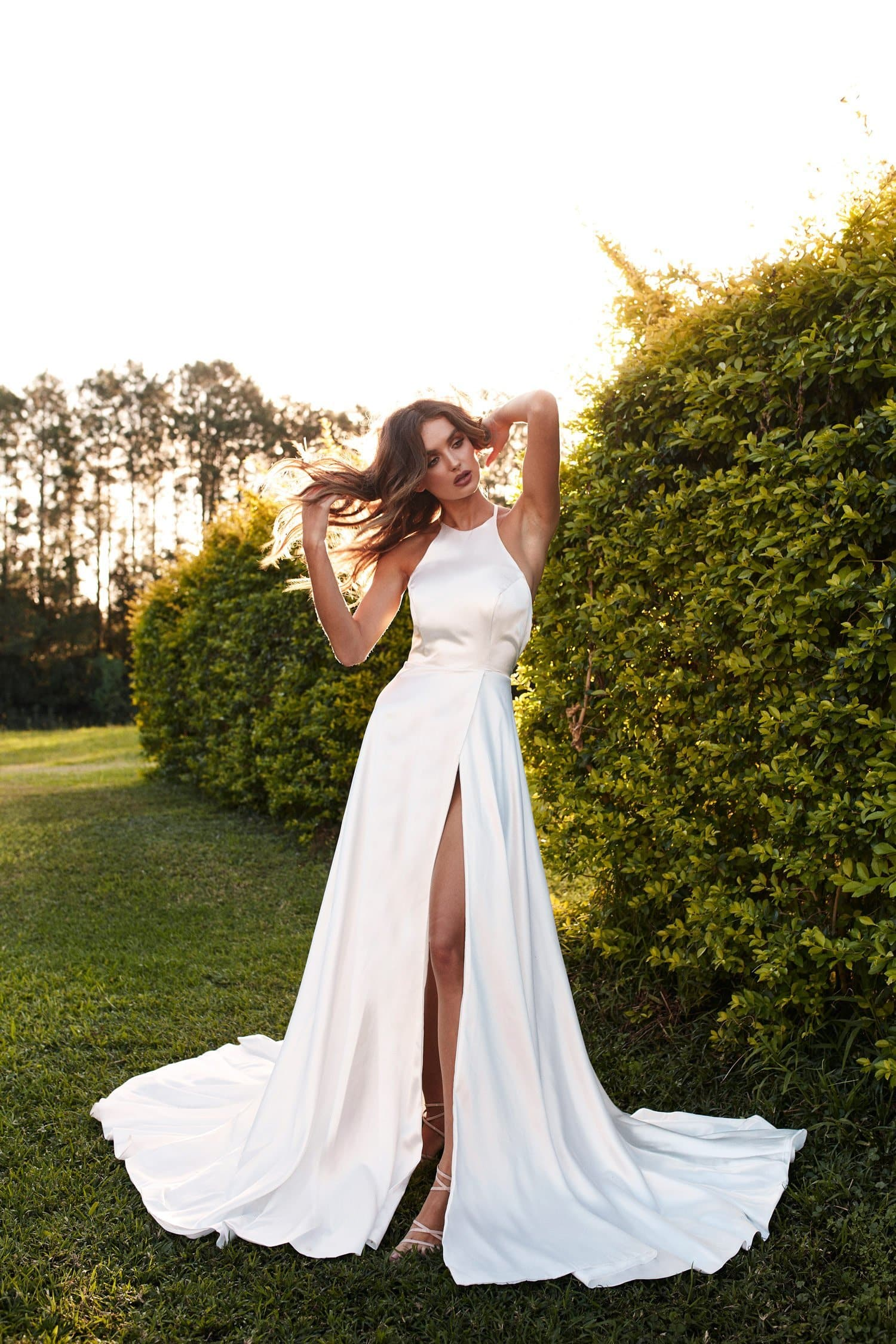 A&N Luxe Romina Satin W Slit Gown - White