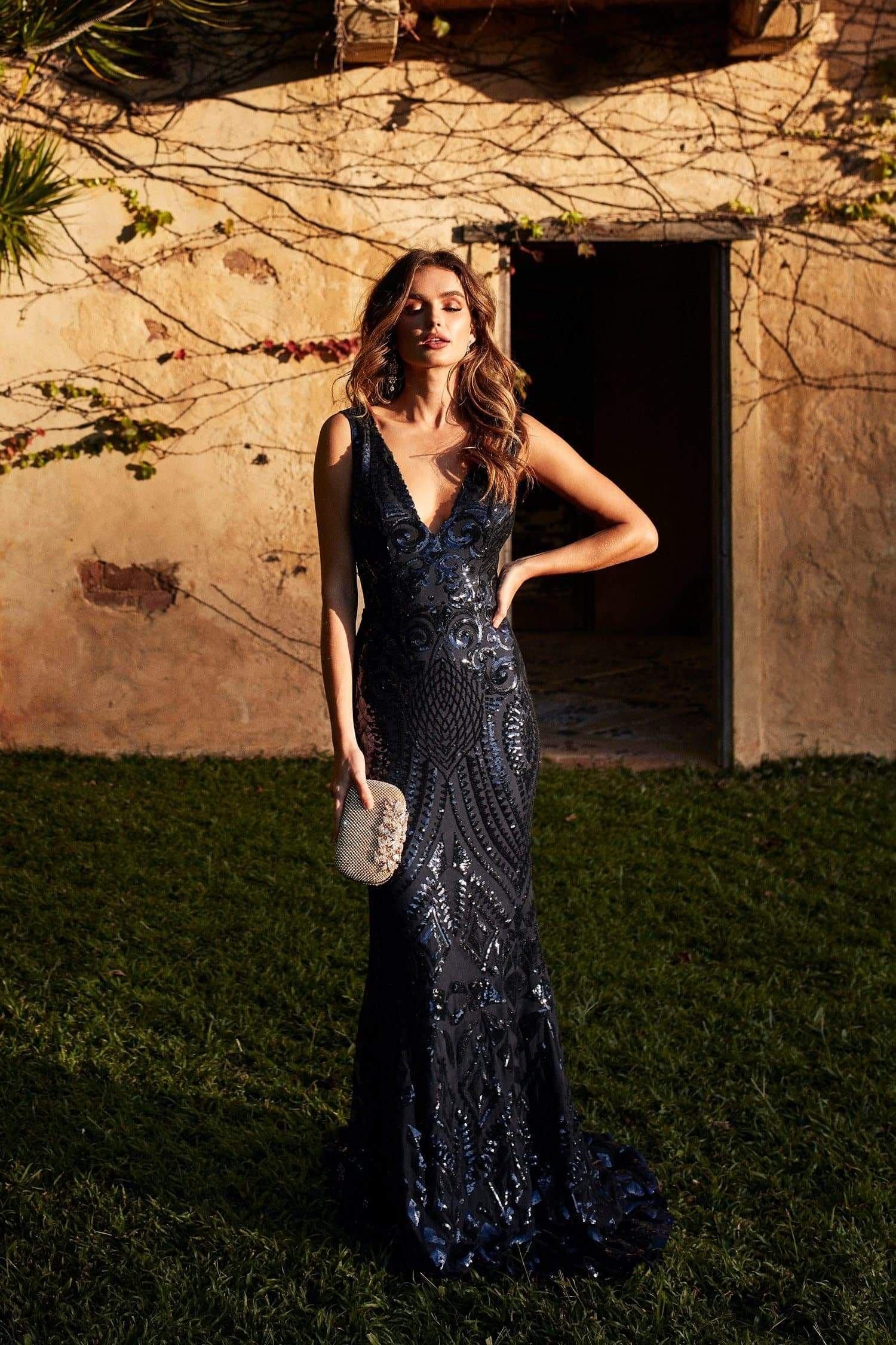 Crown Sequins Gown - Navy V Neckline Sequinned Mermaid Gown with Train