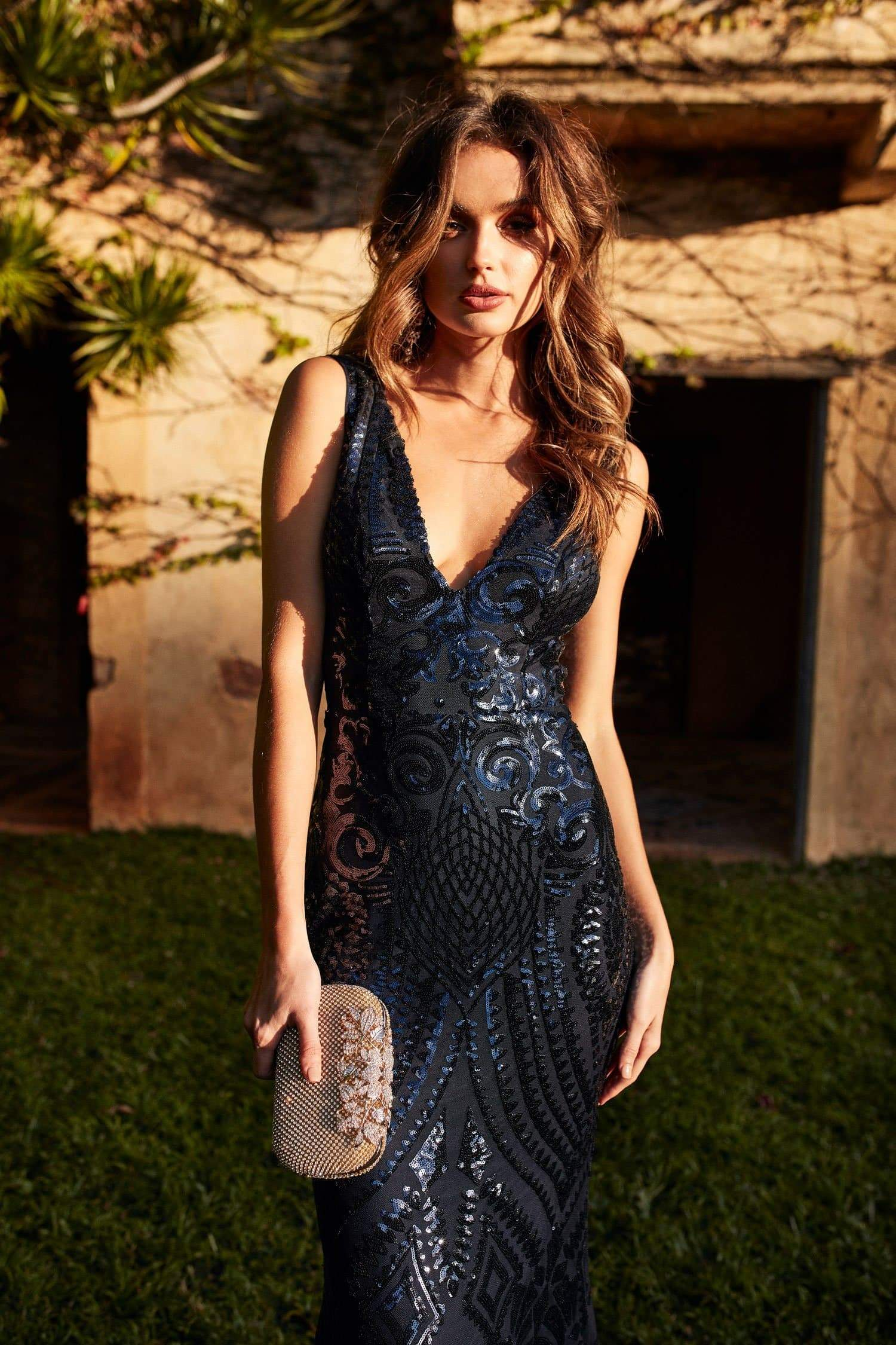 A&N Crown- Navy Sequins Gown with Plunge Neckline and Mermaid Train