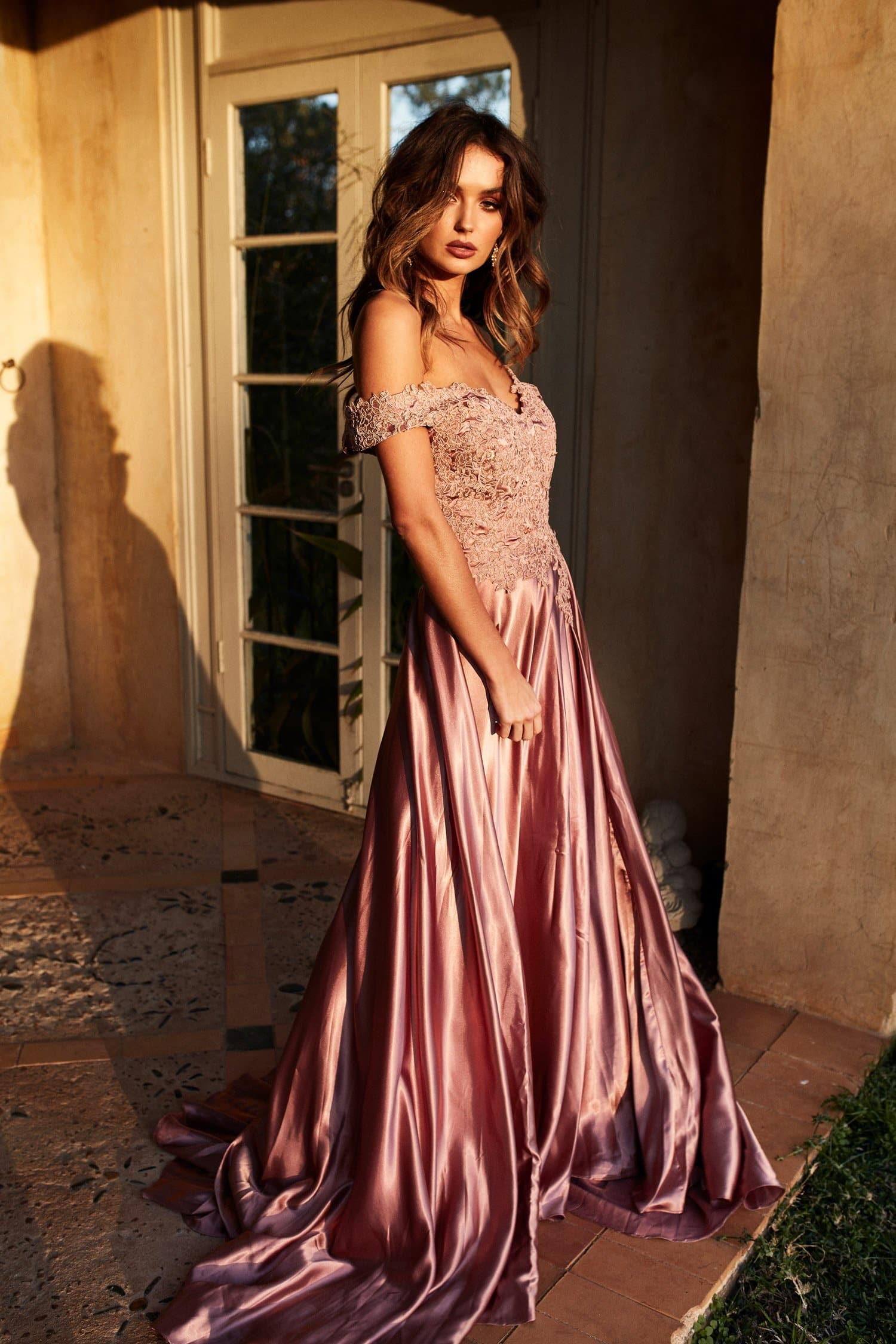A&N Luxe Freya Off Shoulder Lace Satin Gown - Rose Gold