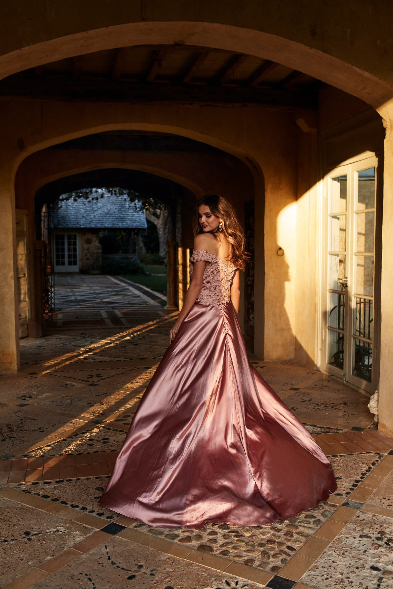 Gold Satin Wedding Gown Ficts