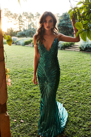 A&N Justina - Emerald Sequin Gown with V Neckline and Low Back