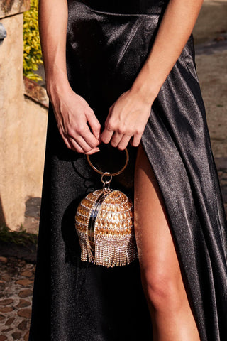 Glazori Gold Crystal Sphere Clutch with Tassels