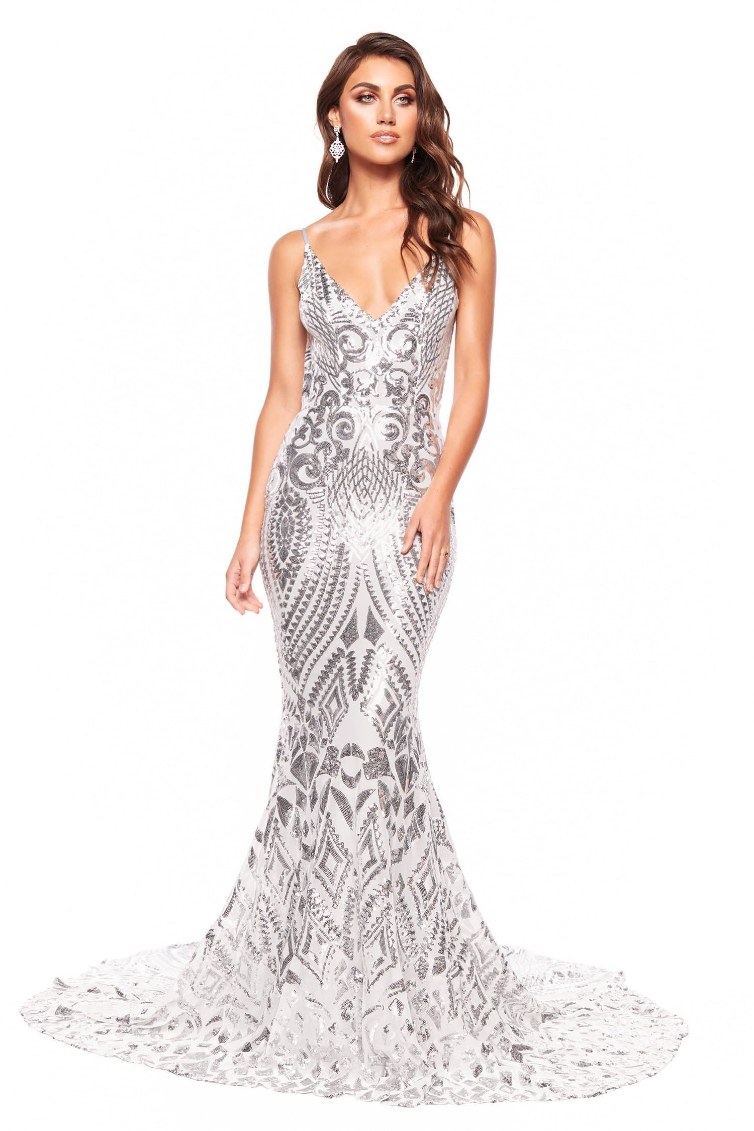 A&N Mariana - Silver Sequin Gown with Low Back and Mermaid Silhouette