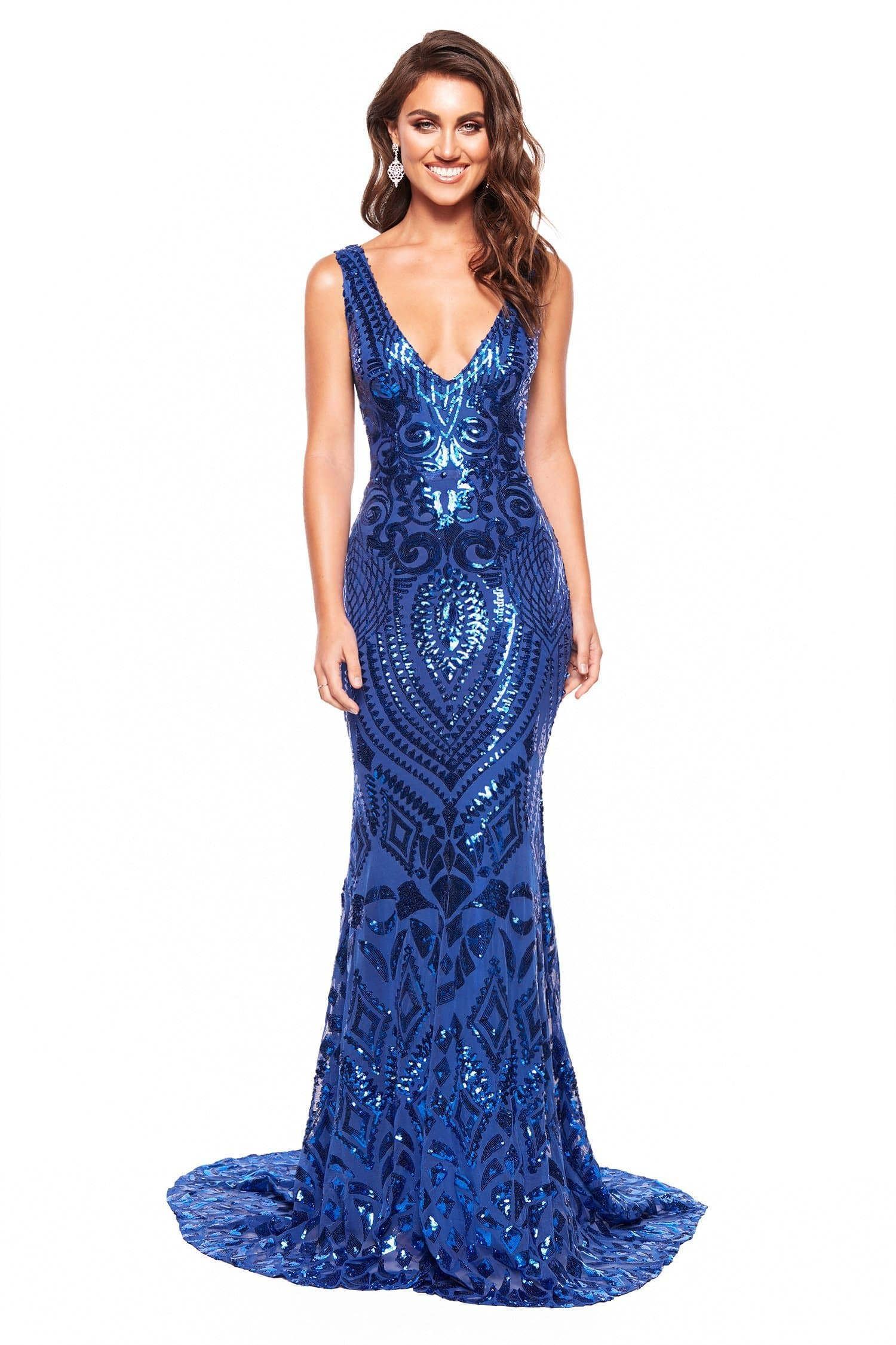 448e318712b A N Luxe Crown - Royal Blue Sequin Gown with Plunge Neck   Open Back ...