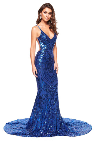 A&N Mariana - Royal Blue Sequin Gown with Low Back & Mermaid Train