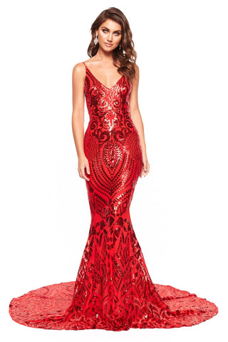 A&N Mariana - Red Sequin Gown with Low Back, Mermaid Train & V-Neck
