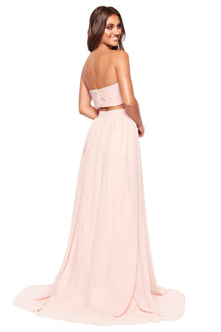 A&N Luxe Tia - Baby Pink Chiffon Strapless Two Piece with Side Slit