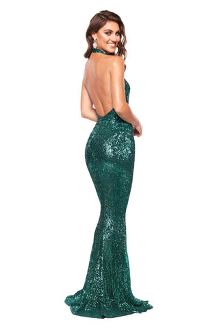 A&N Valentina - Emerald Sequin Halter Neck Gown with Mermaid Tail
