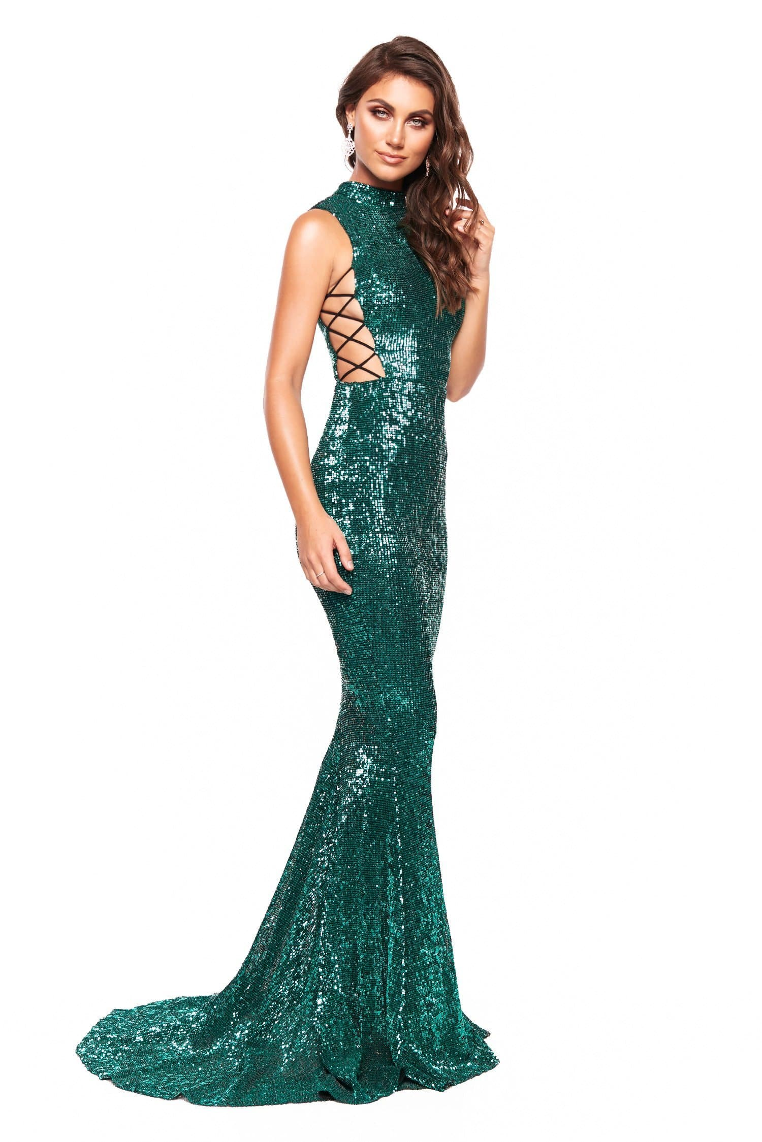 16cd4d7db17 A N Harper - Emerald Sequin High Neck Gown with Criss-Cross Sides ...