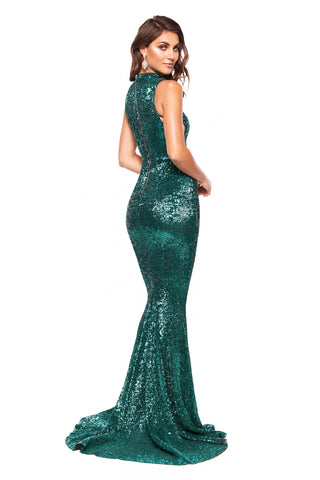A&N Harper - Emerald Sequin High Neck Gown with Criss-Cross Sides