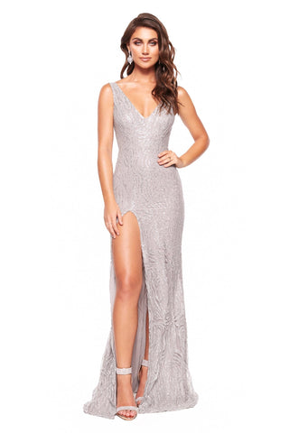 A&N Aria - Silver Glitter Gown with V-Neck and Side Slit