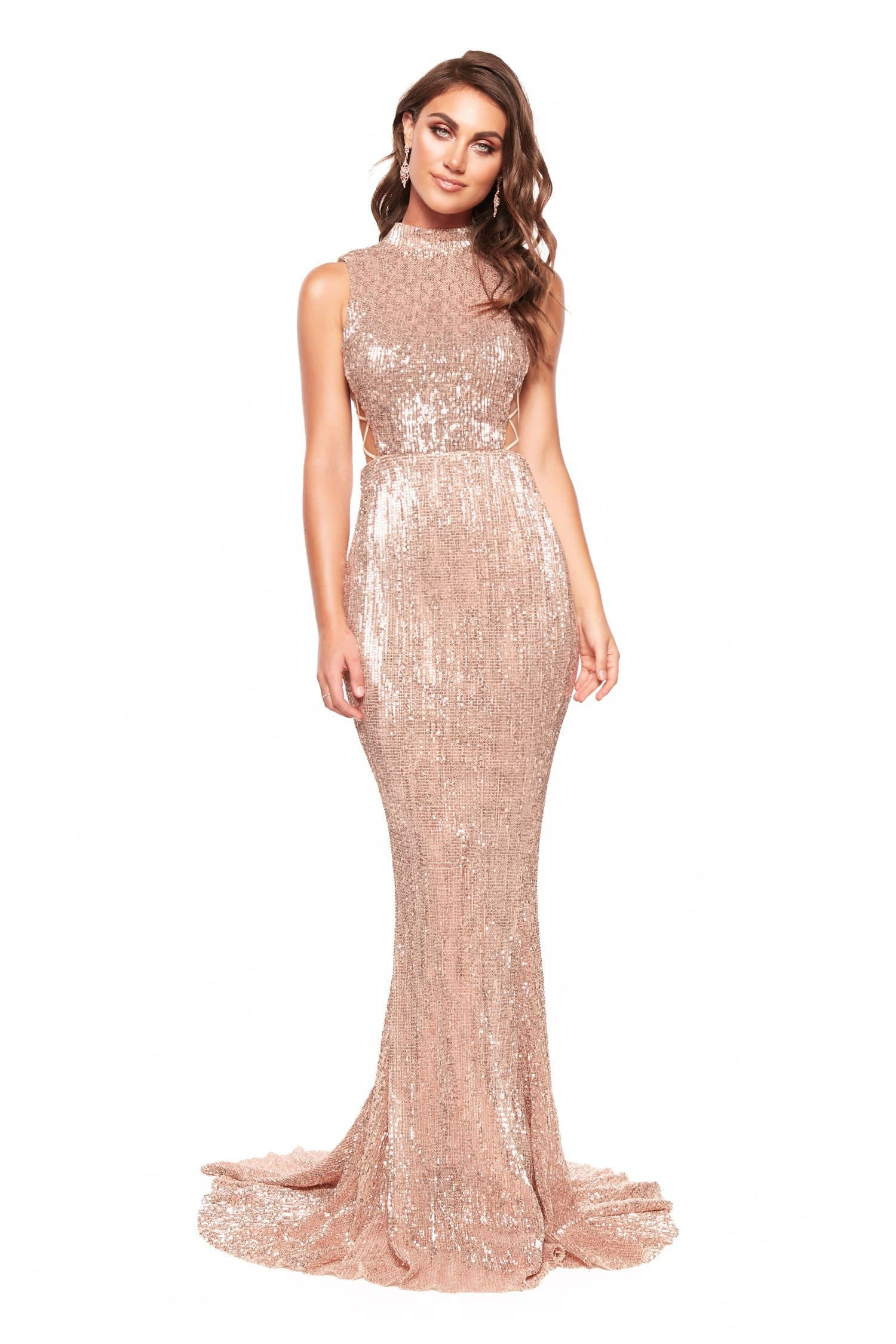 A&N Harper - Rose Gold Sequin High Neck Gown with Criss-Cross Sides