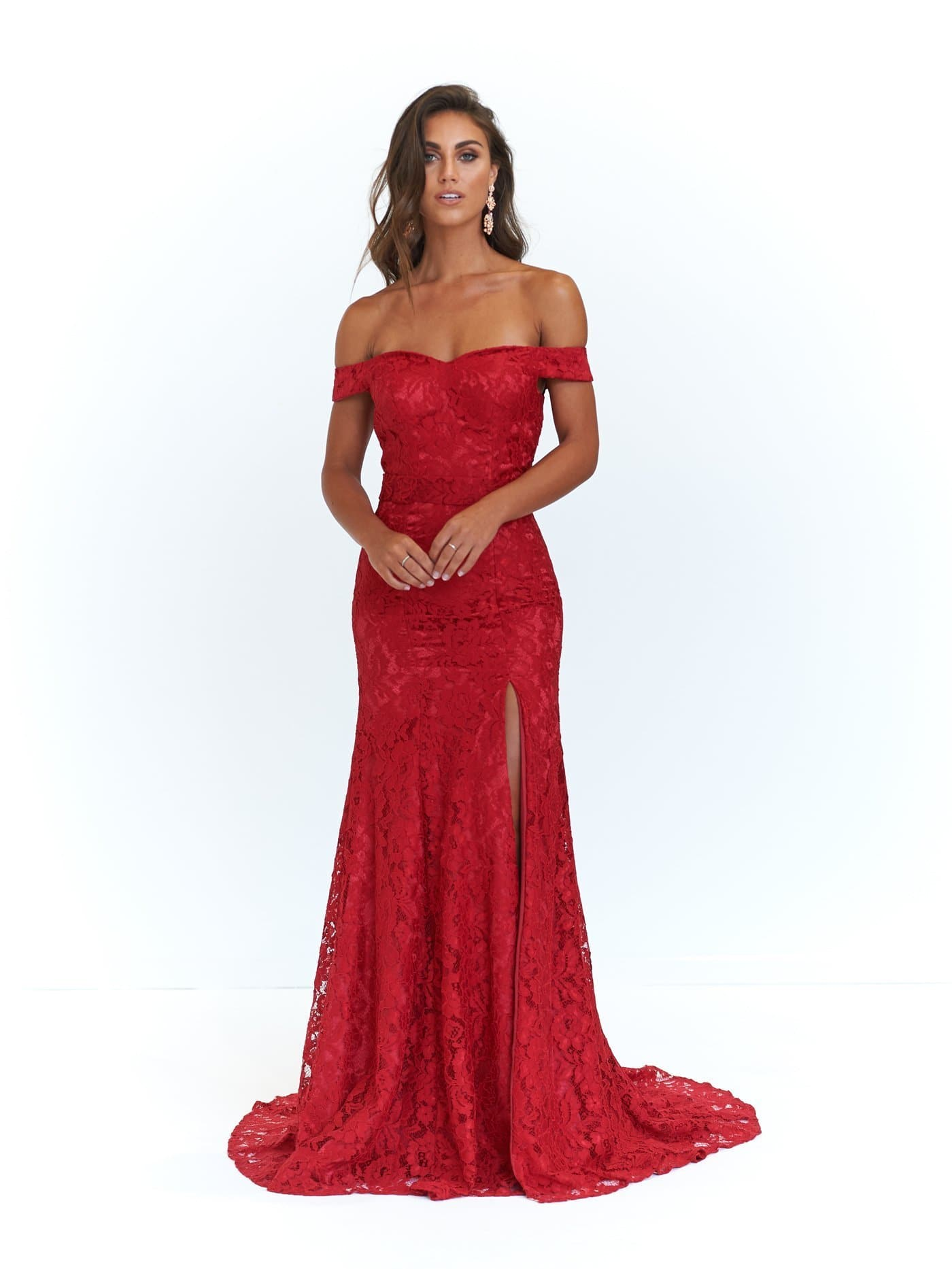 Leyla Formal Dress - Deep Red Lace Off-Shoulder Slit Full Length Gown