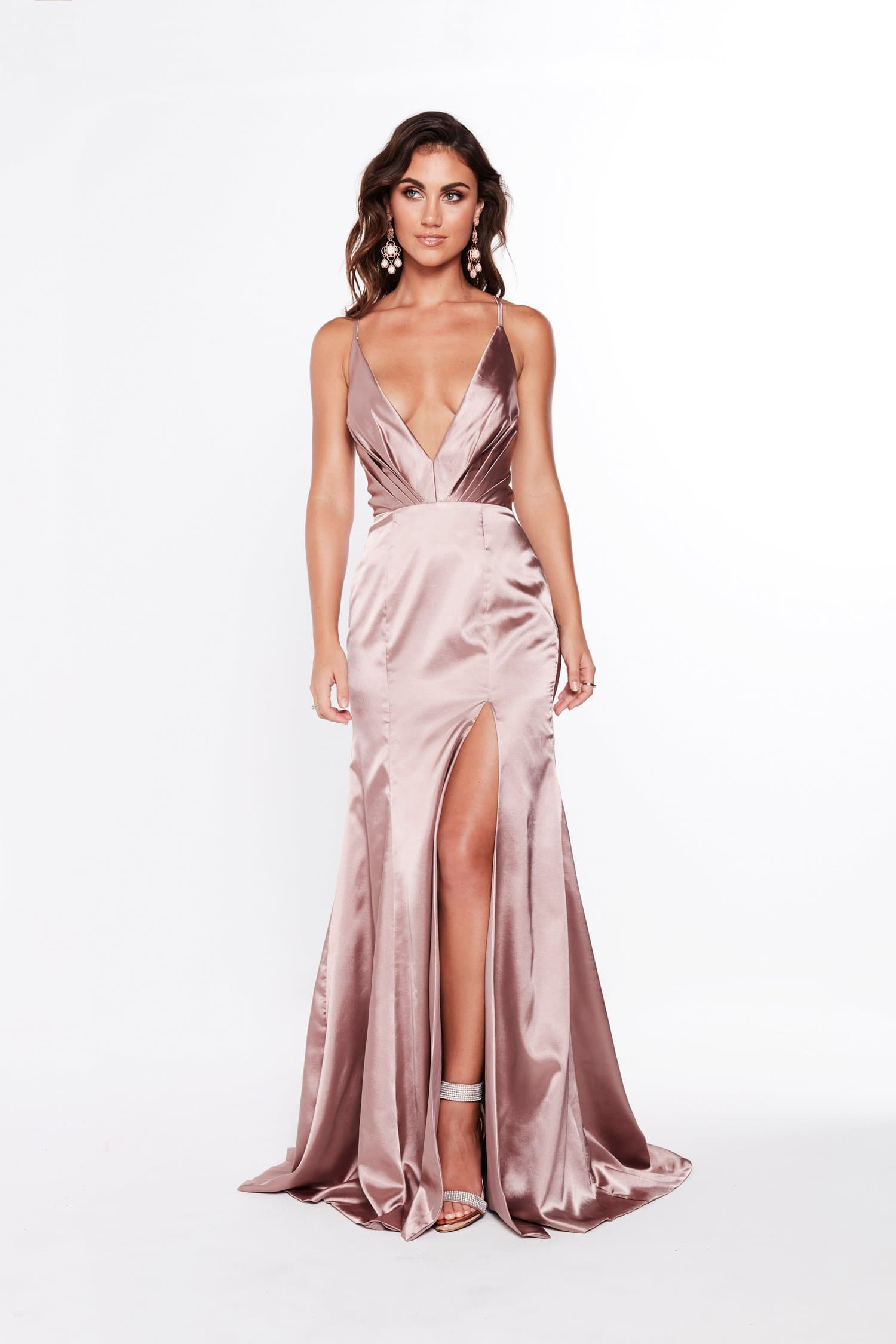A&N Miranda - Mauve Satin Gown with Plunge Neckline and Side Slit