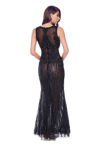 Samara Beaded Gown - Black
