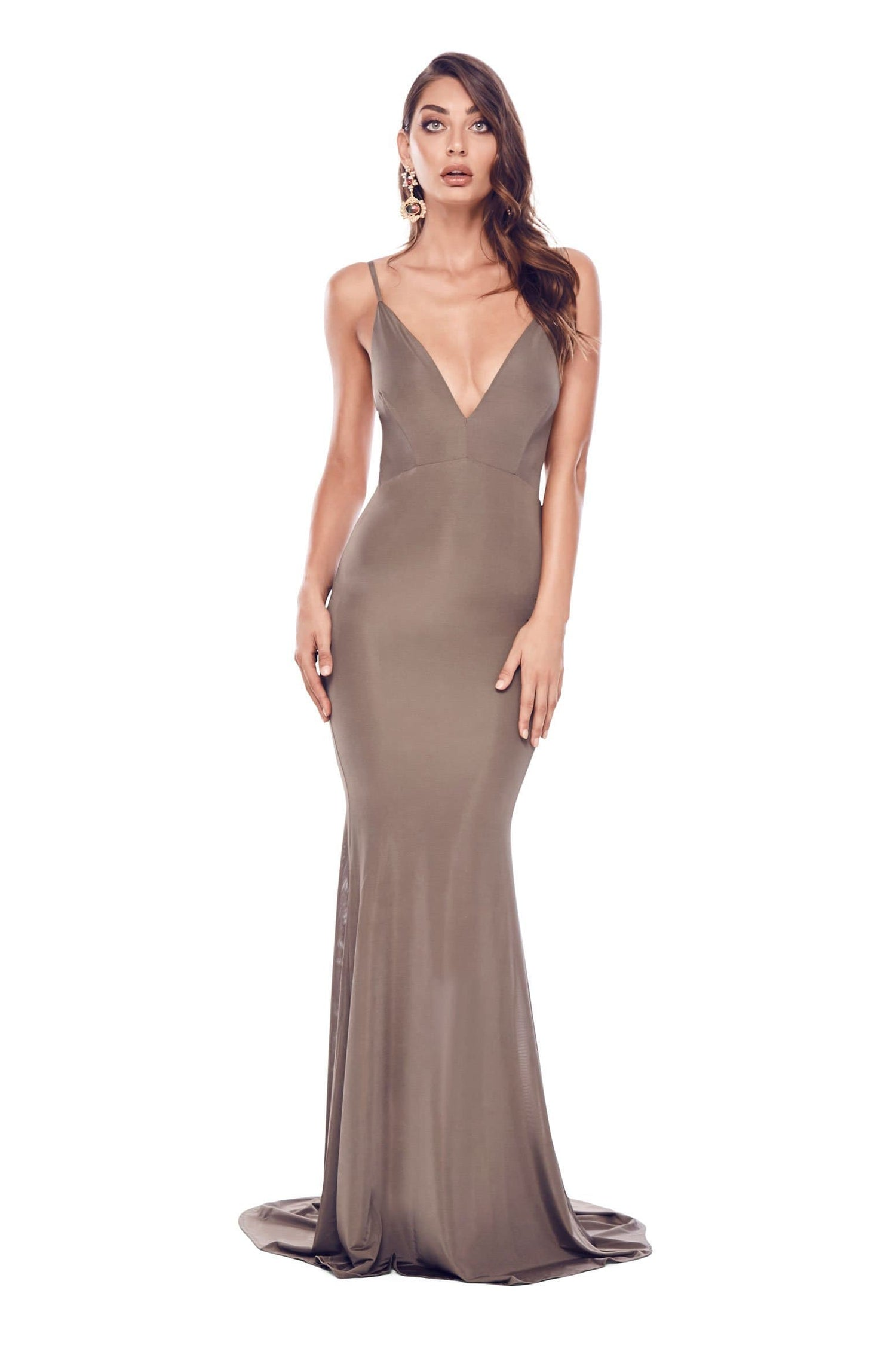 Selina - Olive Backless Jersey Gown with Plunge Neckline