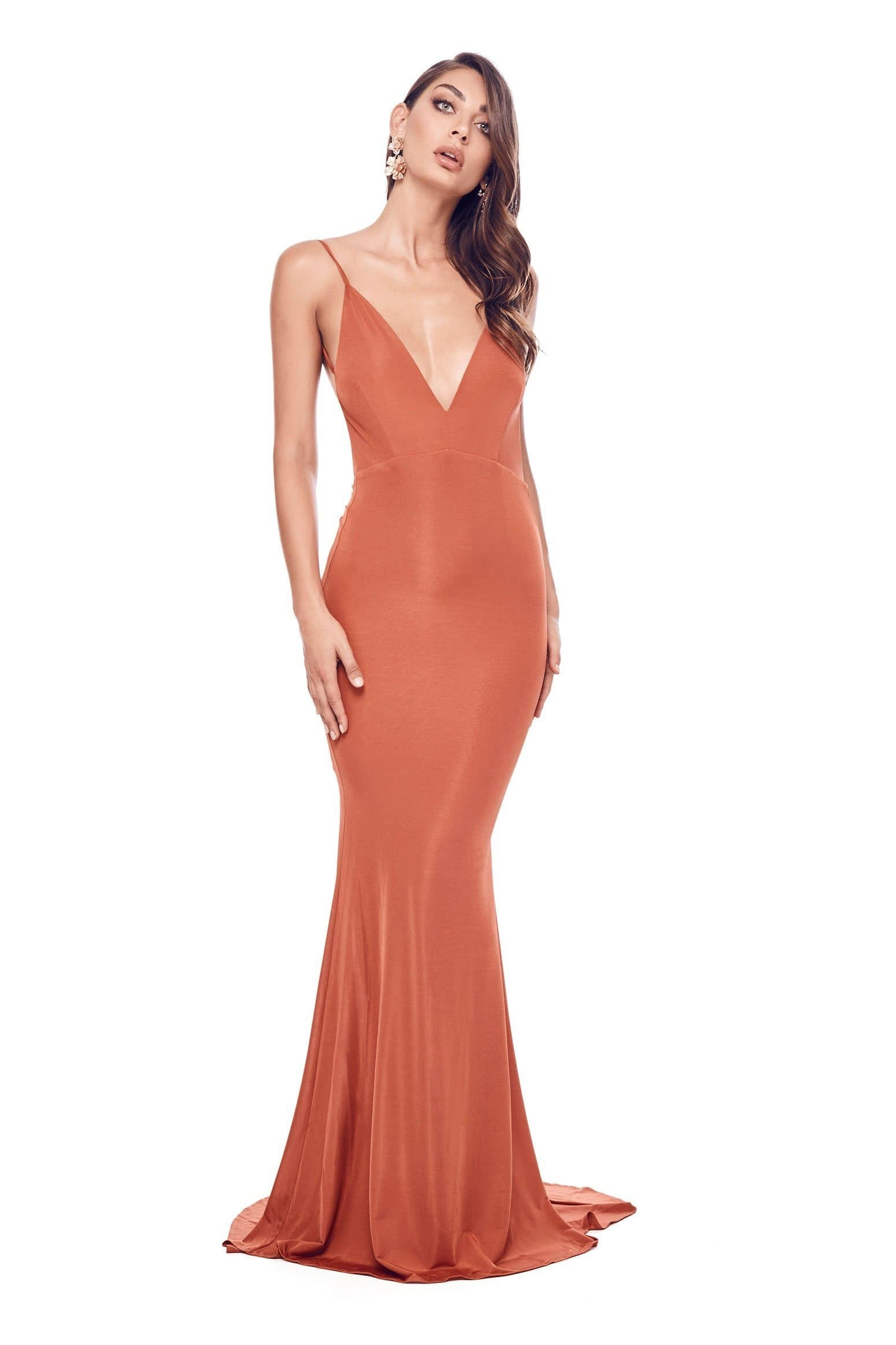 Selina Formal Gown - Golden Rust Jersey V Neck Low Back Mermaid Dress