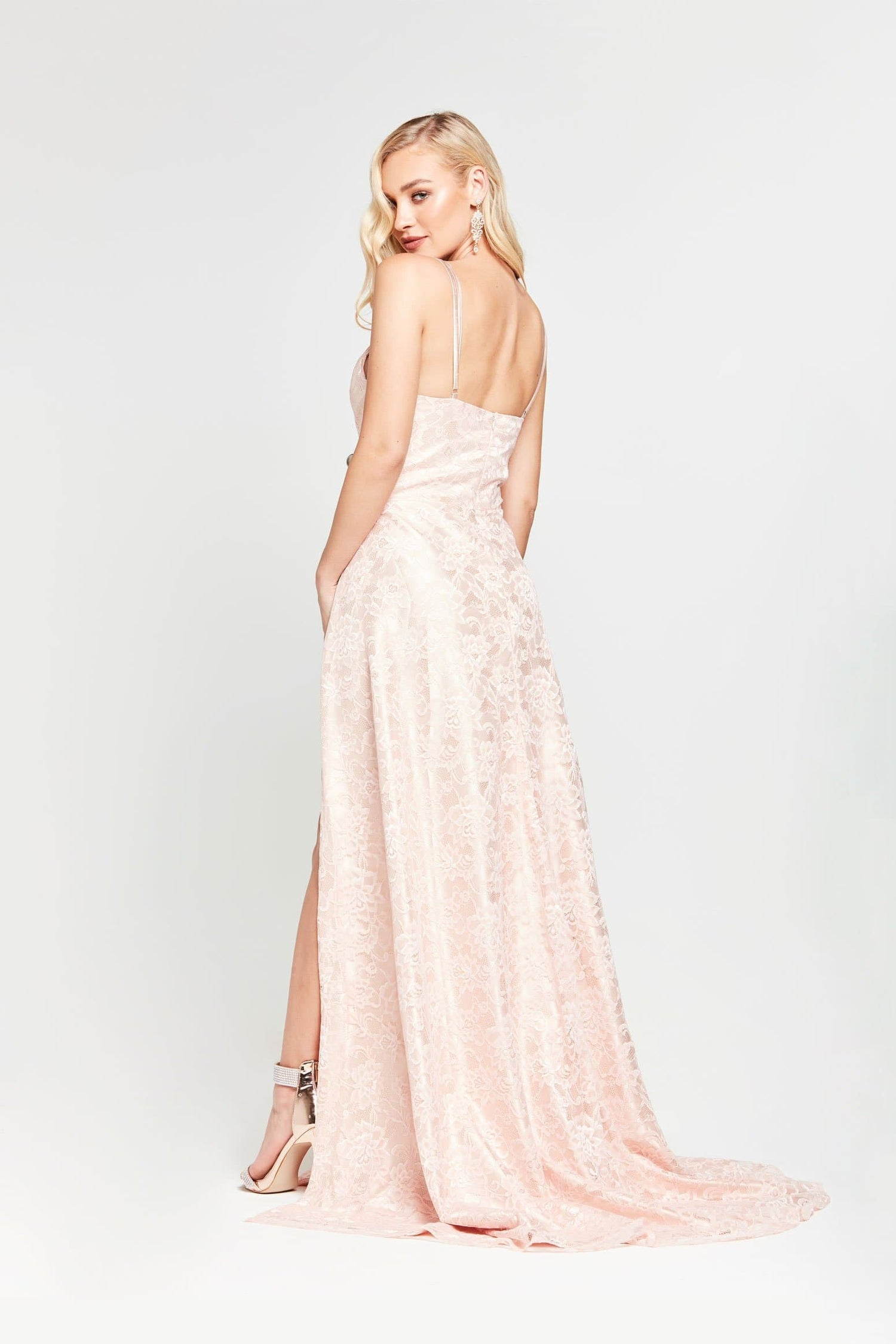 A&N Sofia - Blush Lace Formal Gown with V Neckline and Side Slits