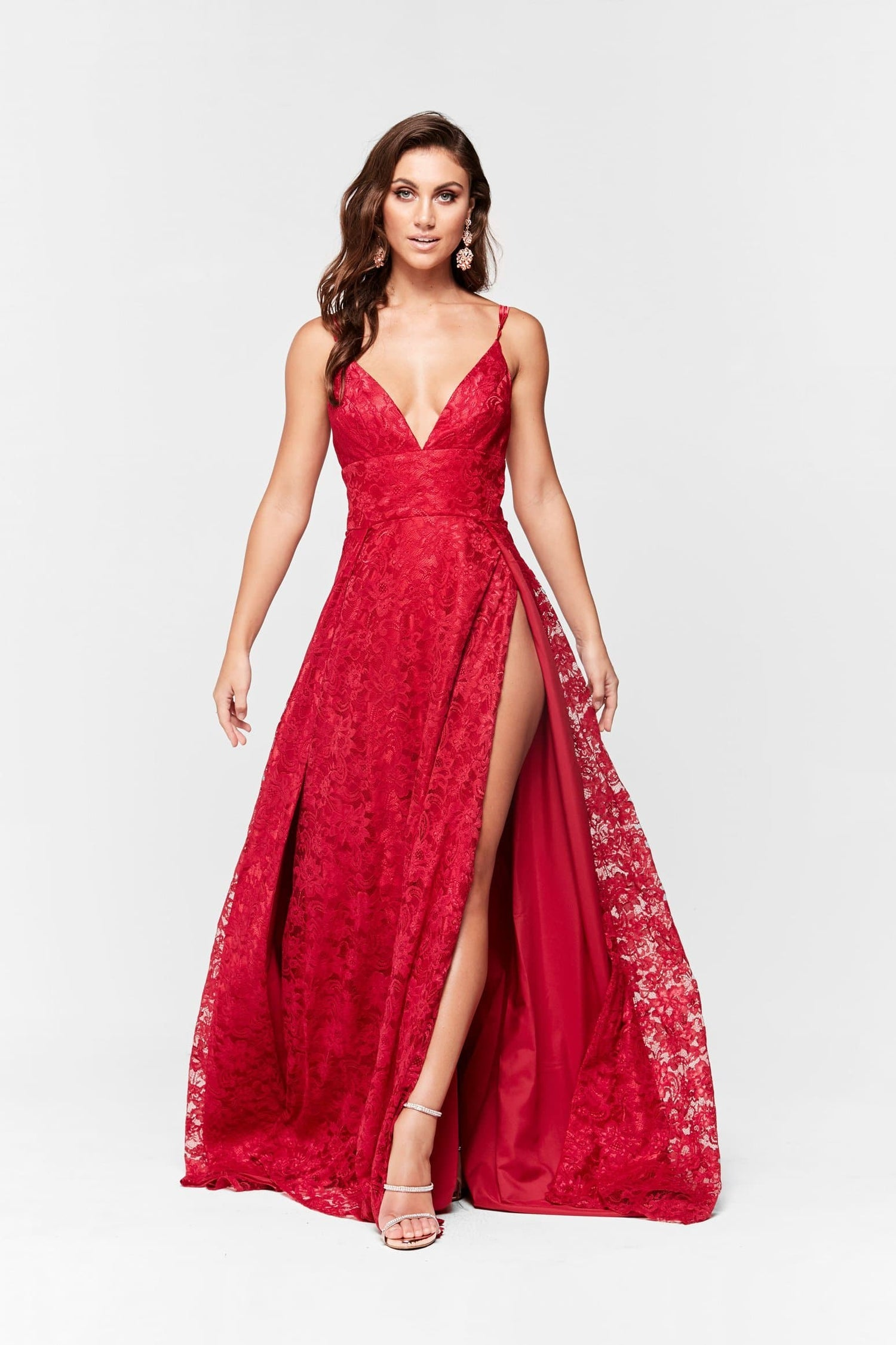 An Luxe Sofia Lace Gown Deep Red