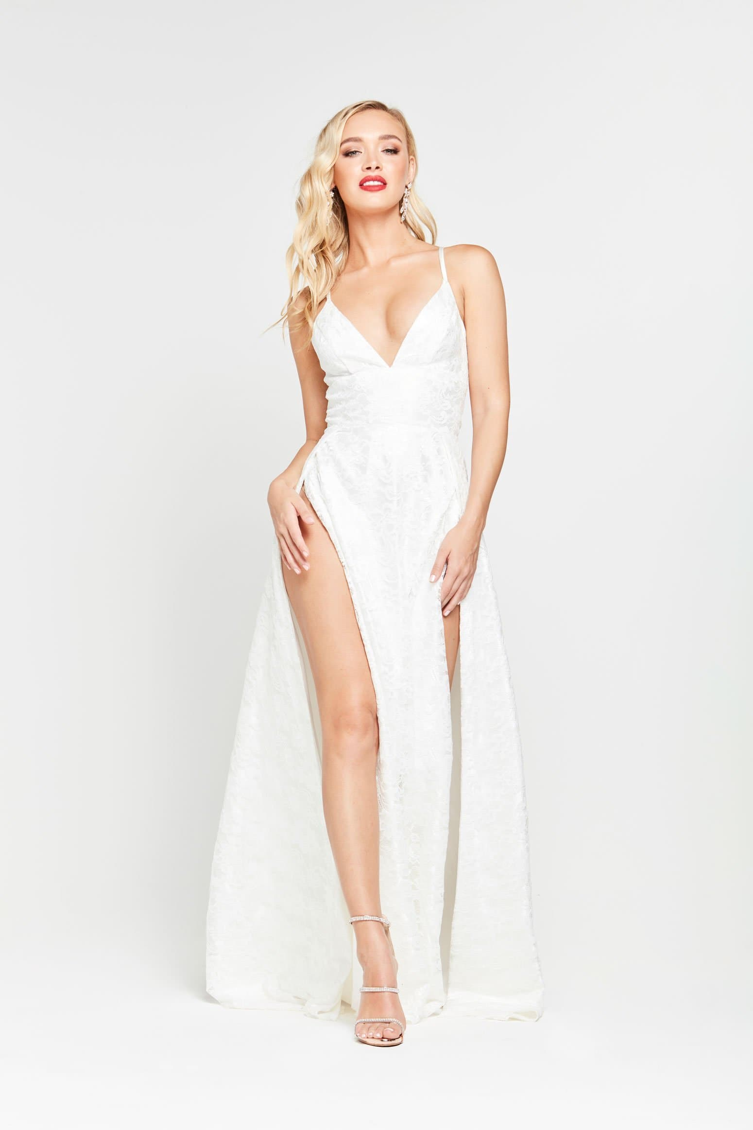 Sofia Formal Gown - White Lace V Neck Two Splits Flare Dress