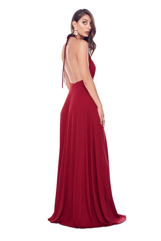 Fabriza - Wine Red Jersey Gown with Halter Plunge Neck & Open Back