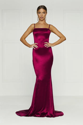 Lesiya - Burgundy Satin Gown with Mermaid Silhouette & Long Train