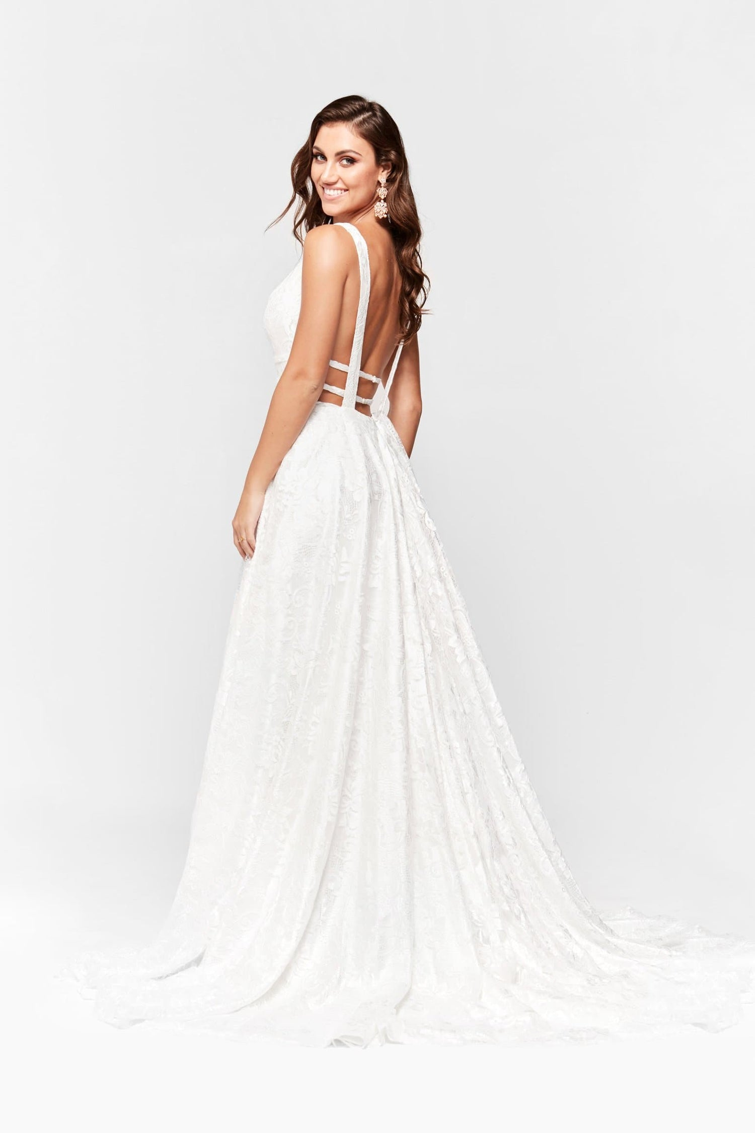 A&N Talia - White Lace Gown with Plunge V Neck and Low Back