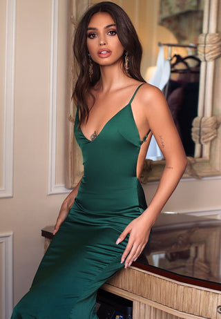 Tamara - Emerald Backless Satin Gown with V-Neckline & Mermaid Train