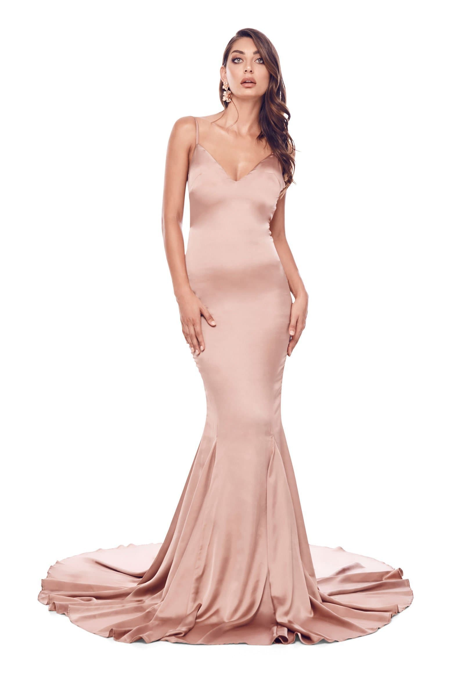Tamara - Rose Gold Backless Satin Gown with Mermaid Train