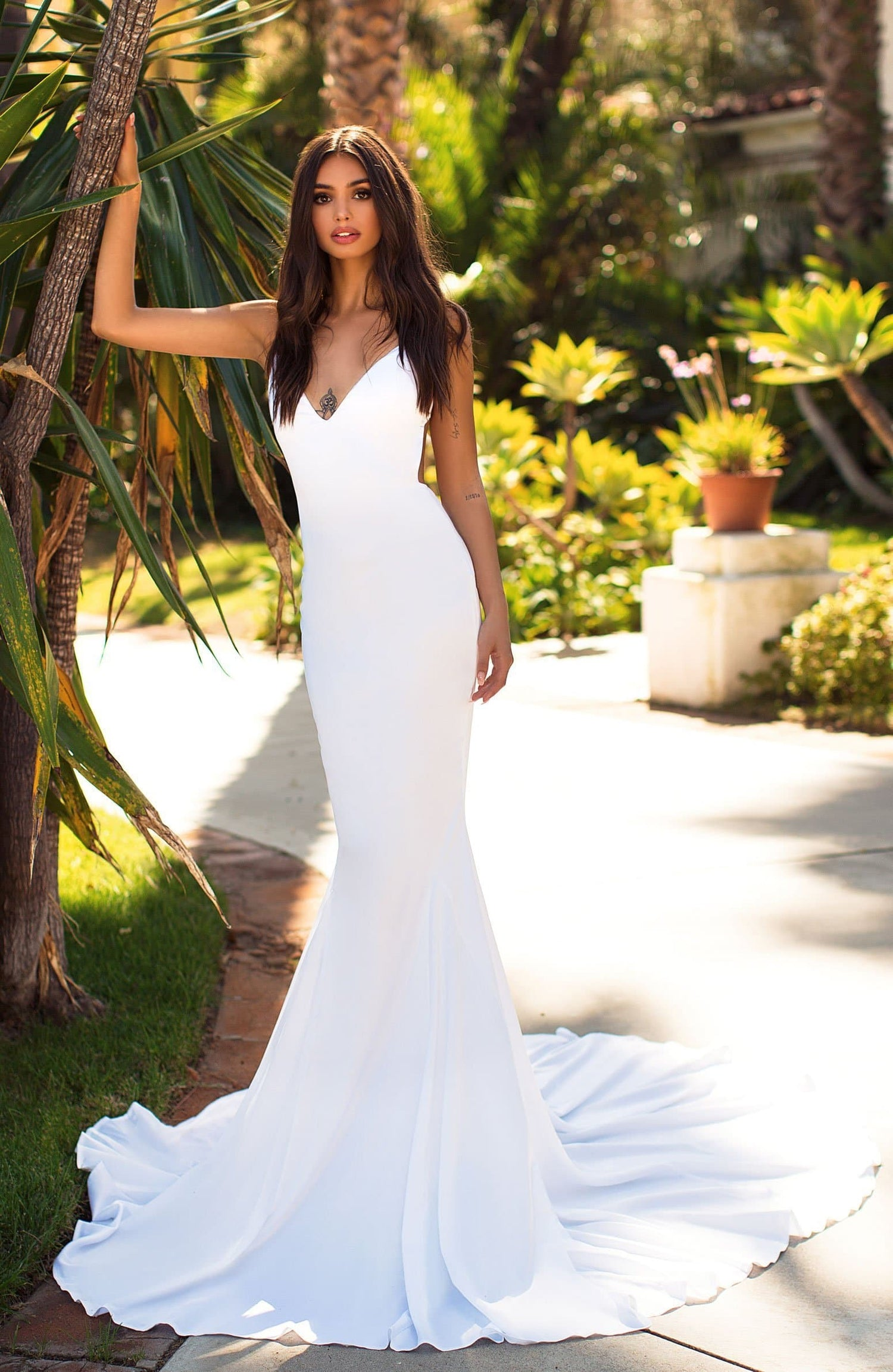 Tamara - White Backless Satin Gown with V-Neckline & Mermaid Train