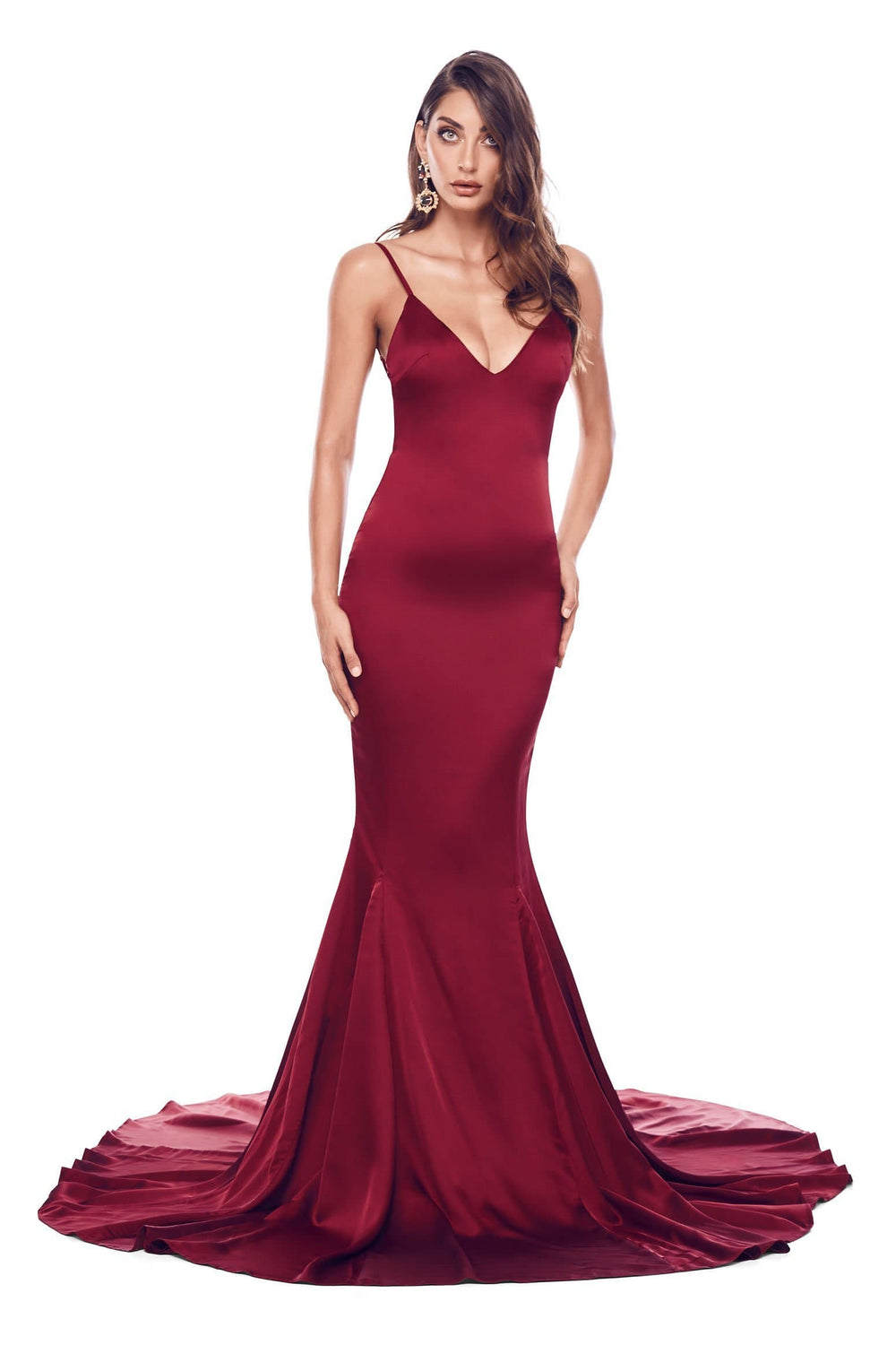 Tamara - Burgundy Satin Backless Gown with V Neckline & Mermaid Train