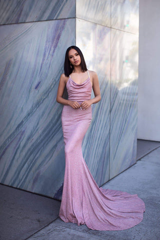 A&N Luxe Tanisha  Gown - Dusty Pink Lurex Shimmering Cowl Neck Prom Gown