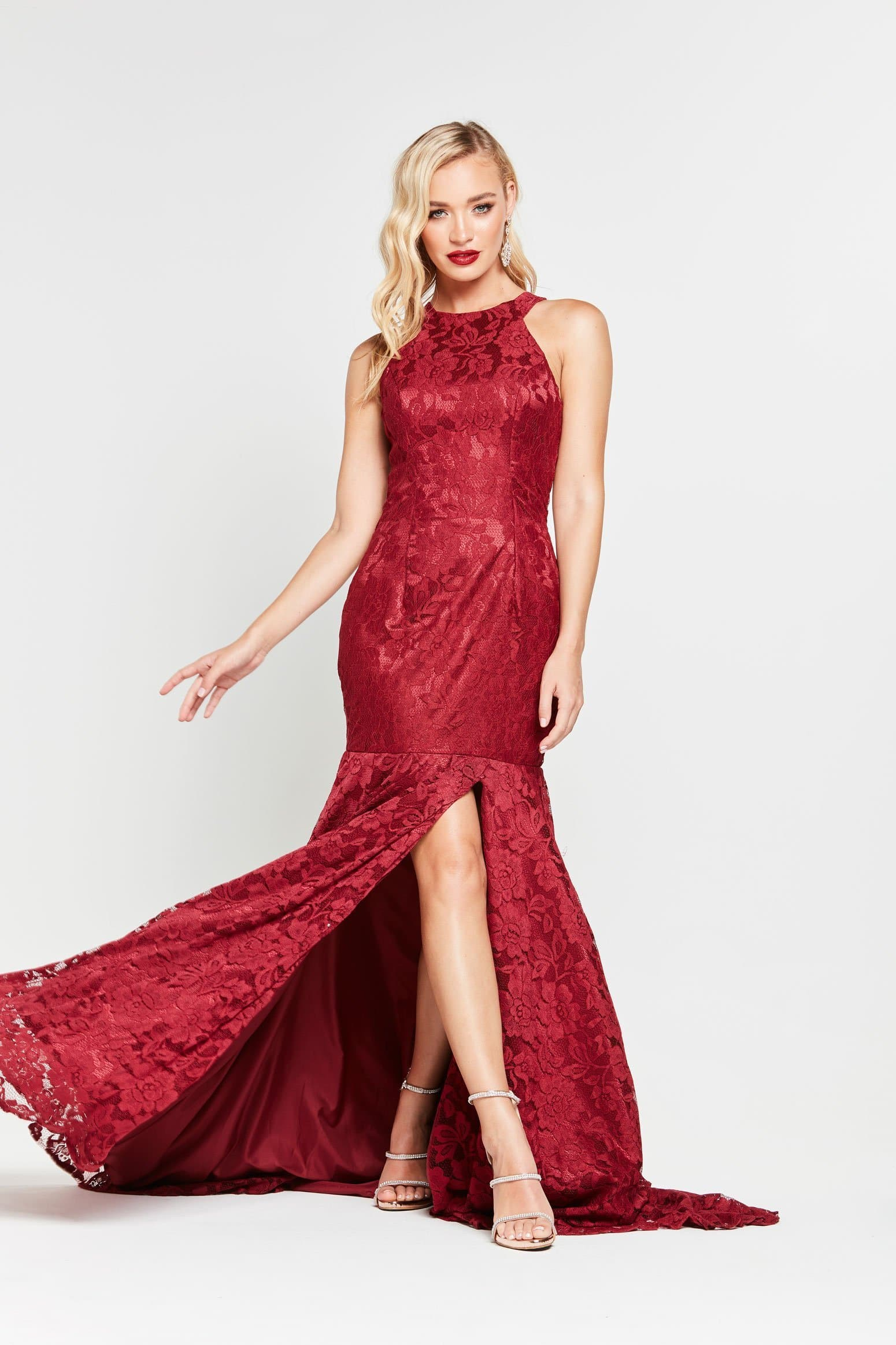A&N Therese - Burgundy Lace Gown with Halter Neck and Side Slit
